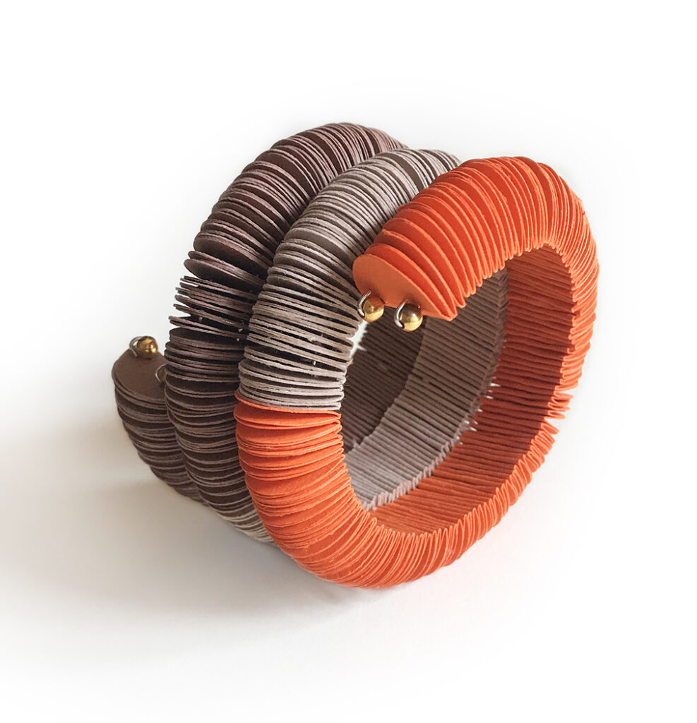 brown and orange paper snake  bracelet