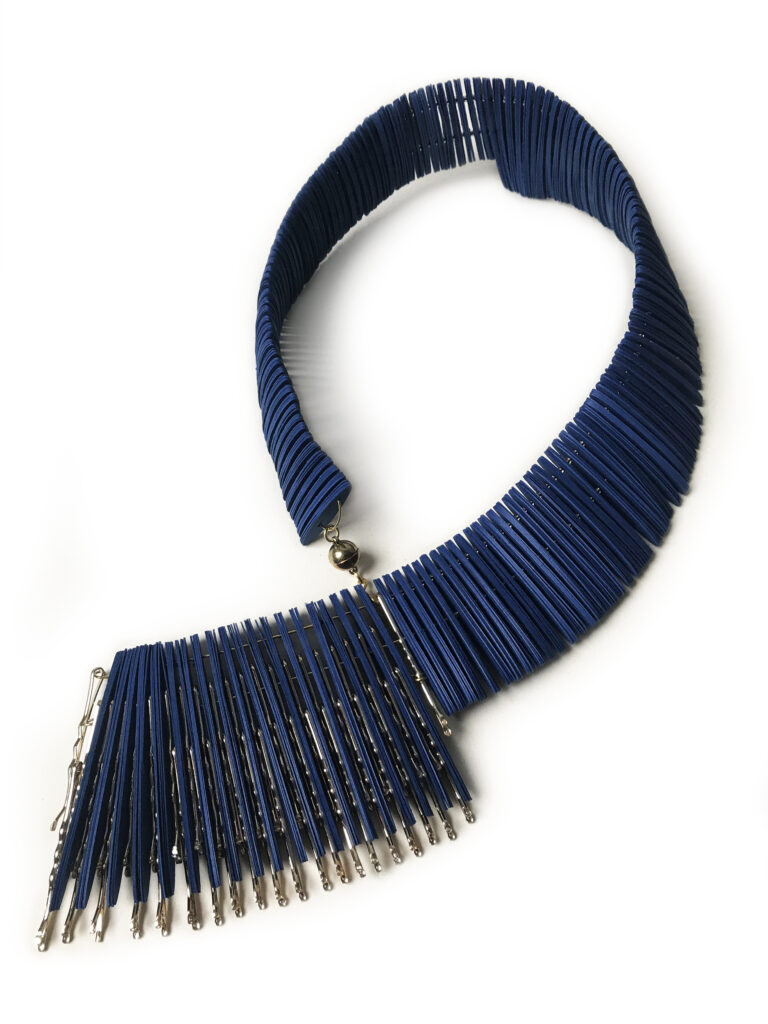 statement necklace handmade with precious papers available in blue